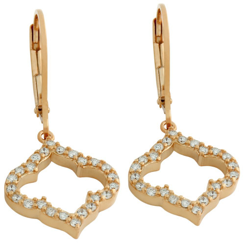 ROSE GOLD PLATED CZ CUTOUT ROYAL CLOVER LEVER BACK EARRINGS