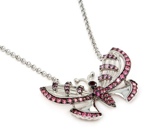 "FERRONI RED, DARK AND LIGHT PINK BUTTERFLY 18"" NECKLACE WITH ZIRCONIA BY SWAROVSKI"