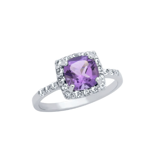 CUSHION-CUT GENUINE AMETHYST RING WITH WHITE TOPAZ HALO