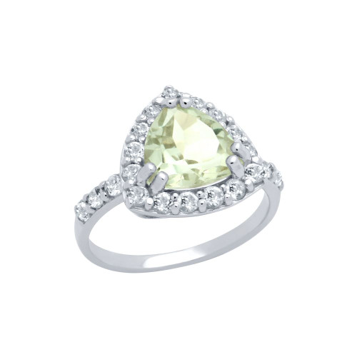 TRILLIANT-CUT GENUINE GREEN AMETHYST RING WITH WHITE TOPAZ HALO