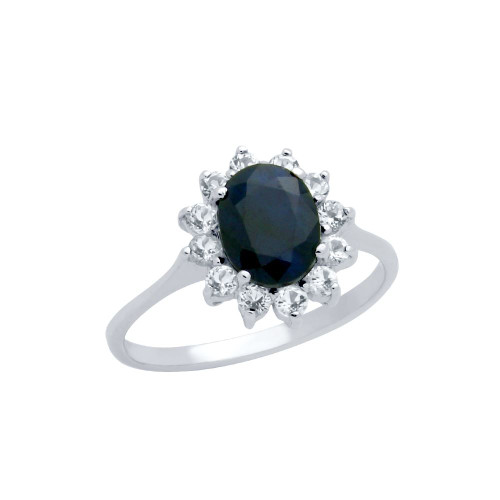"OVAL-CUT GENUINE DARK BLUE SAPPHIRE RING WITH WHITE TOPAZ ""CLUSTER FLOWER"" HALO"