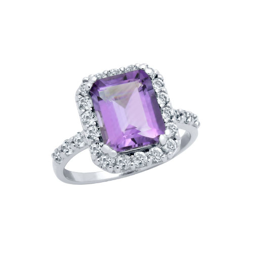 EMERALD-CUT GENUINE AMETHYST RING WITH LARGE WHITE TOPAZ HALO