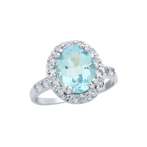 OVAL-CUT GENUINE SKY BLUE TOPAZ RING WITH LARGE WHITE TOPAZ HALO