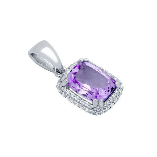 CHECKERBOARD-CUT GENUINE AMETHYST PENDANT WITH WHITE TOPAZ DOUBLE-HALO