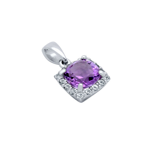 CUSHION-CUT GENUINE AMETHYST PENDANT WITH WHITE TOPAZ HALO