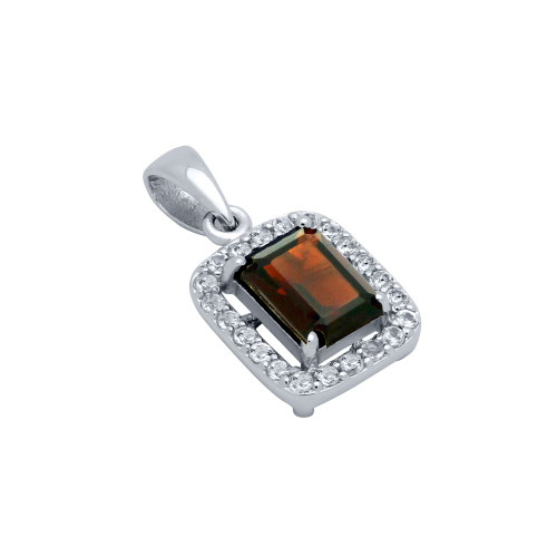 EMERALD-CUT GENUINE GARNET PENDANT WITH WHITE TOPAZ HALO