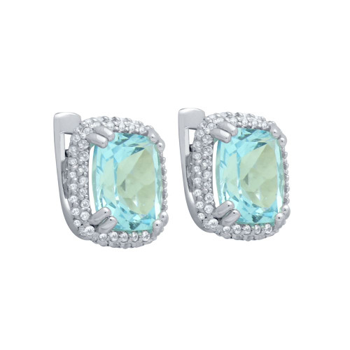 CUSHION-CUT GENUINE SKY BLUE TOPAZ EARRINGS WITH WHITE TOPAZ DOUBLE-HALO