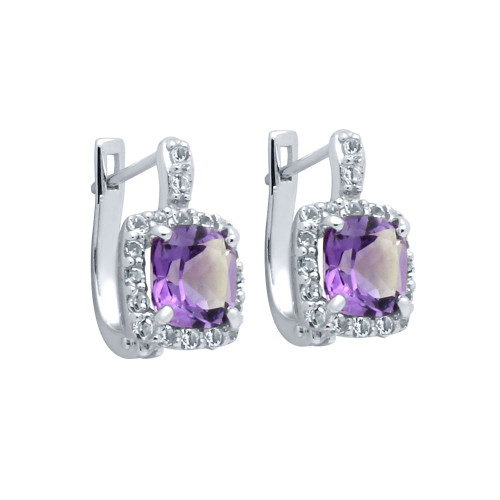 CUSHION-CUT GENUINE AMETHYST EARRINGS WITH WHITE TOPAZ HALO