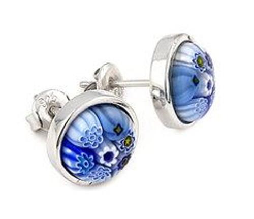 BLUE MURANO MILLEFIORI 10MM ROUND STUD EARRINGS