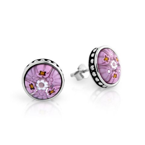 PINK MURANO MILLEFIORI 10MM ROUND STUD EARRINGS WITH BEADED DESIGN