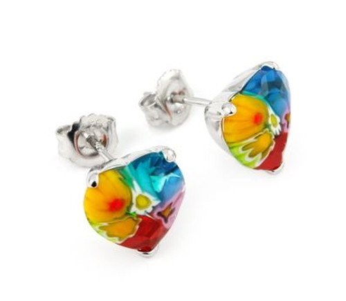 MURANO MILLEFIORI FACETED MULTICOLOR SMALL HEART EARRINGS