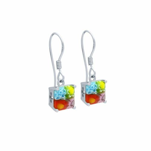 MULTICOLOR MURANO MILLEFIORI 7MM SQUARE FISHHOOK EARRINGS