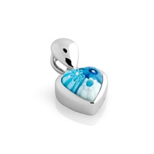 LIGHT BLUE MURANO MILLEFIORI SMALL HEART PENDANT