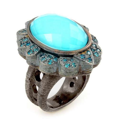 SIGNATURE AUTHENTICO TURQUOISE OVAL FACETED DEMIQUARTZ DOUBLET RING WITH COPPER BRASS AND SIGNITY CZ