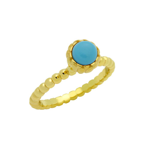 GOLD PLATED BEAD DESIGN RING WITH 5MM CABOCHON TURQUOISE
