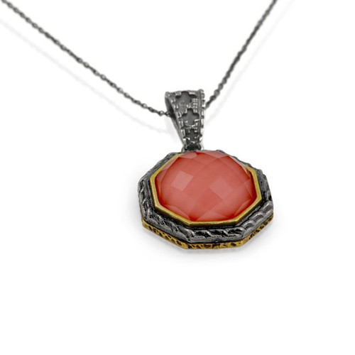 "SIGNATURE AUTHENTICO CORAL FACETED 8 SIDED PENDANT ON 16"" NECKLACE"