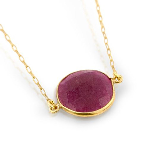 "GOLD PLATED ROUND RED QUARTZ NECKLACE IN 16"" + 1"""