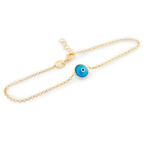 "GOLD PLATED SINGLE 6MM BABY EYE BRACELET 6""+1"""
