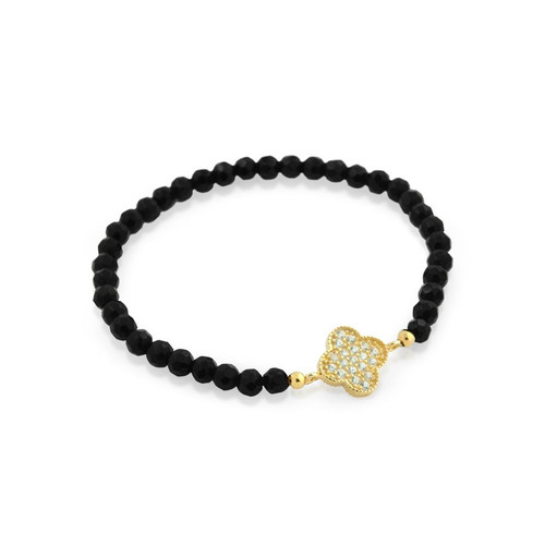 GOLD PLATED CZ CLOVER ON BLACK ONYX BEAD STRETCH BRACELET