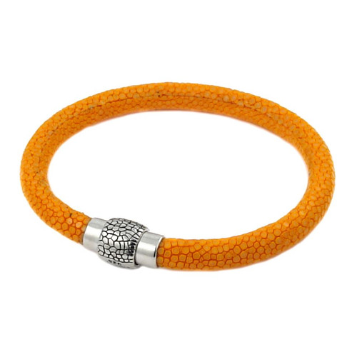 ORANGE STINGRAY LEATHER BRACELET WITH MAGNETIC LOCK