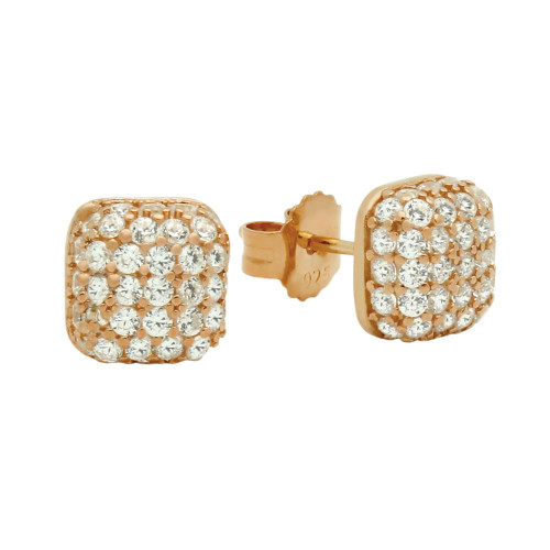 ROSE GOLD PLATED CUSHION-SHAPE CZ PAVE POST EARRINGS