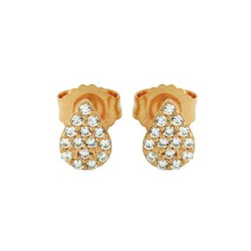 ROSE GOLD PLATED DROP SHAPED CZ PAVE POST EARRINGS