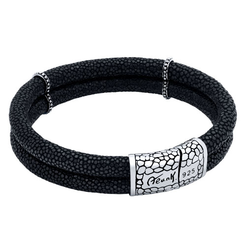 BLACK STINGRAY LEATHER DUPLEX BRACELET WITH MAGNETIC LOCK