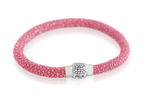 HOT PINK STINGRAY LEATHER BRACELET WITH MAGNETIC LOCK