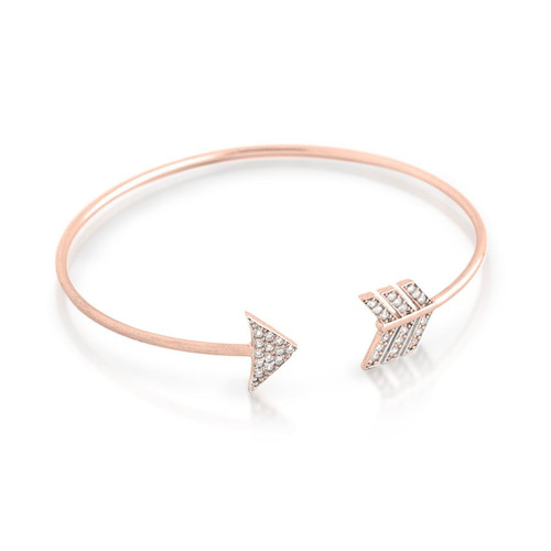 ROSE GOLD PLATED CZ ARROW DESIGN BANGLE