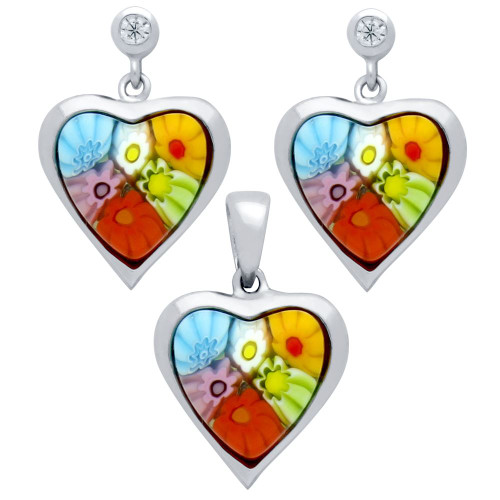 MILLEFIORI SET: MULTI-COLOR 11X11MM HEART SHAPED EARRINGS WITH CZ POST AND PENDANT