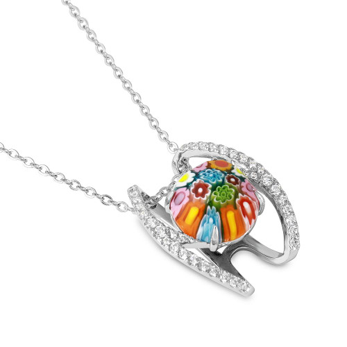 MULTICOLOR MURANO MILLEFIORI ROUND NECKLACE WITH SPLIT BASKET CZ PAVE DESIGN
