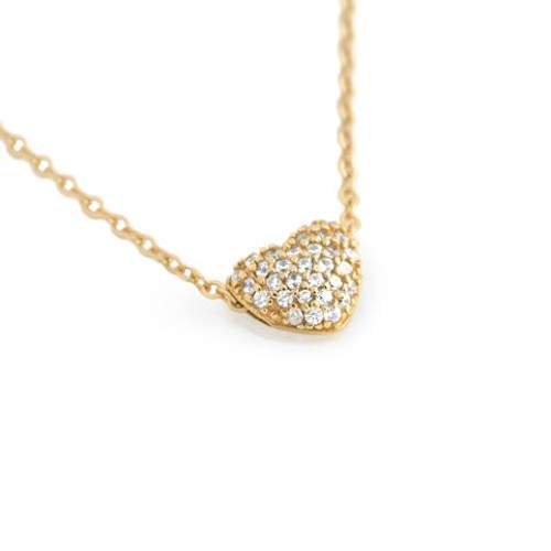 "GOLD PLATED DOUBLE SIDED CZ HEART SLIDER NECKLACE 16""+1"""