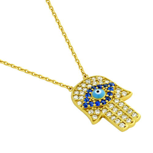 "GOLD PLATED CLEAR AND BLUE CZ HAMSA HAND NECKLACE WITH LIGHT BLUE EYE 16""+1"" ADJUSTABLE"