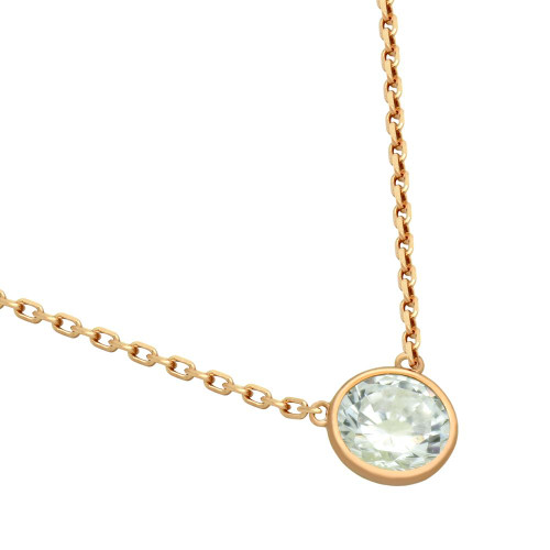 """ROSE GOLD PLATED 6.5MM CZ STONE ON NECKLACE 16"""" + 2"""""""