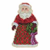 Greetings Santa Beaded Counted Cross Stitch Kit Mill Hill 2015 Jim Shore JS205105