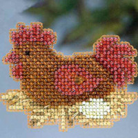 Chicken or The Egg Bead Cross Stitch Kit Mill Hill 2013 Autumn Harvest