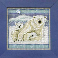 Polar Bears Cross Stitch Kit Mill Hill 2014 Buttons & Beads Winter