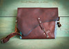 Bison and Turquoise Leather Bag  or purse for everyday use.