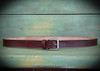 Classic Style Belt Antique Silver Buckle by Ozark Mountain Leather in Mahogany.
