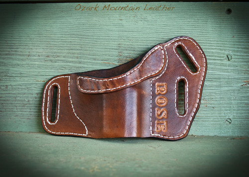 Custom leather holster for small to large frame guns.  Can be customized with name or initials.  Makes a great gift.