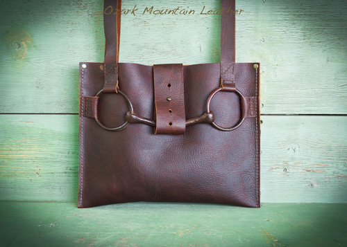 Dark Brown Bison Leather Horse Bit Tote Bag.