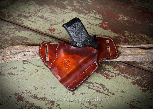 Custom leather gun holster for small to large frame guns.  This color is called Sunset
