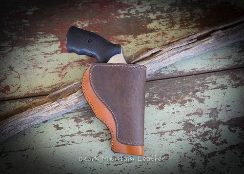 Custom leather gun holster for medium to large revolver