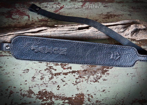 Custom leather rifle sling in black.  Can be personalized with name or initials and also a custom stamp option.