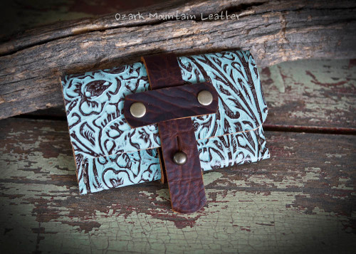 Turquoise Leather Card Wallet perfect for folded bills and credit cards or business cards.