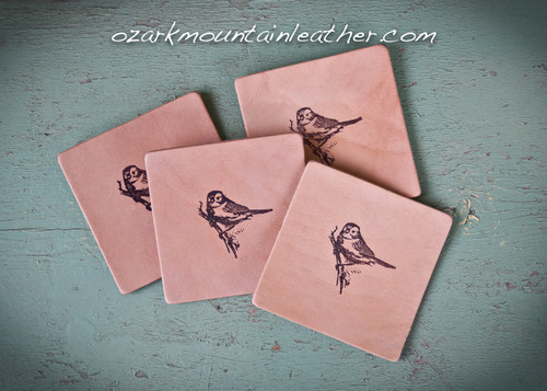 Leather coaster set with Bird design.