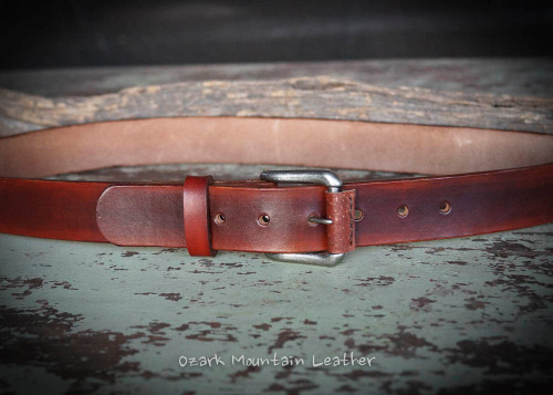 Rustic leather belt in dark brown by Ozark Mountain Leather.