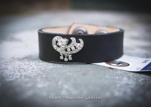 Vintage Rhinestone Leather Cuff in black clear rhinestones