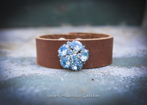 Vintage Blue rhinestones on brown leather cuff.