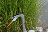 """Great Blue Heron dancing garden art that moves with the wind atop a 35"""" stake, made in Michigan, USA."""